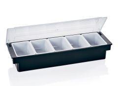 Garniturebox kunststof sort 6 beholdere x0,57 L