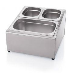 Garniturebox stål kan indeholde 2x1/3,4x1/6,6x1/9, dybde 15cm