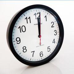 Ur med sort kant, radiostyret, Ø25 cm