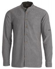 Grå chambray kokkeskjorte med lange ærmer