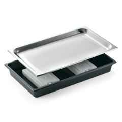 Køleplade til udstilling 1/1 gn sort plast, bakke rustfri stål