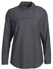 Skjorte dame popover clay grey lang ærme trykknapper