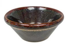 Dipskål i brunt stentøj 10x4,5 cm