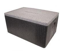 Termokasse sort/grå låg 60x40x30h cm